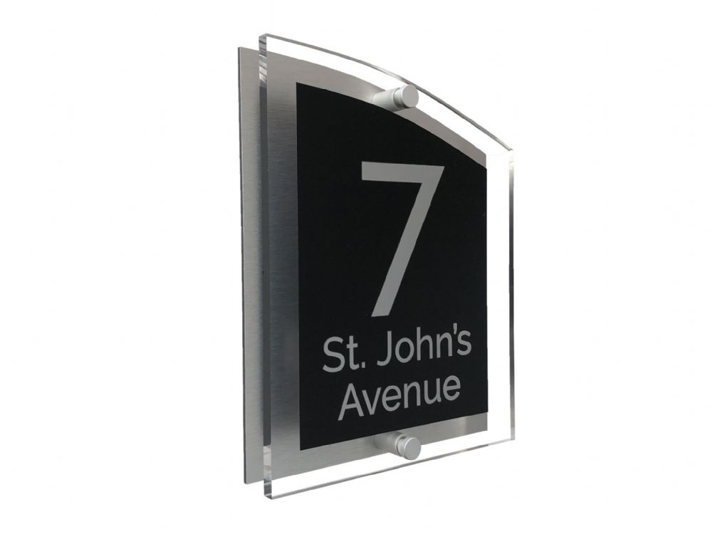 Arc Shape - Clear Acrylic House Sign - Black Colour with Silver text in Font  4